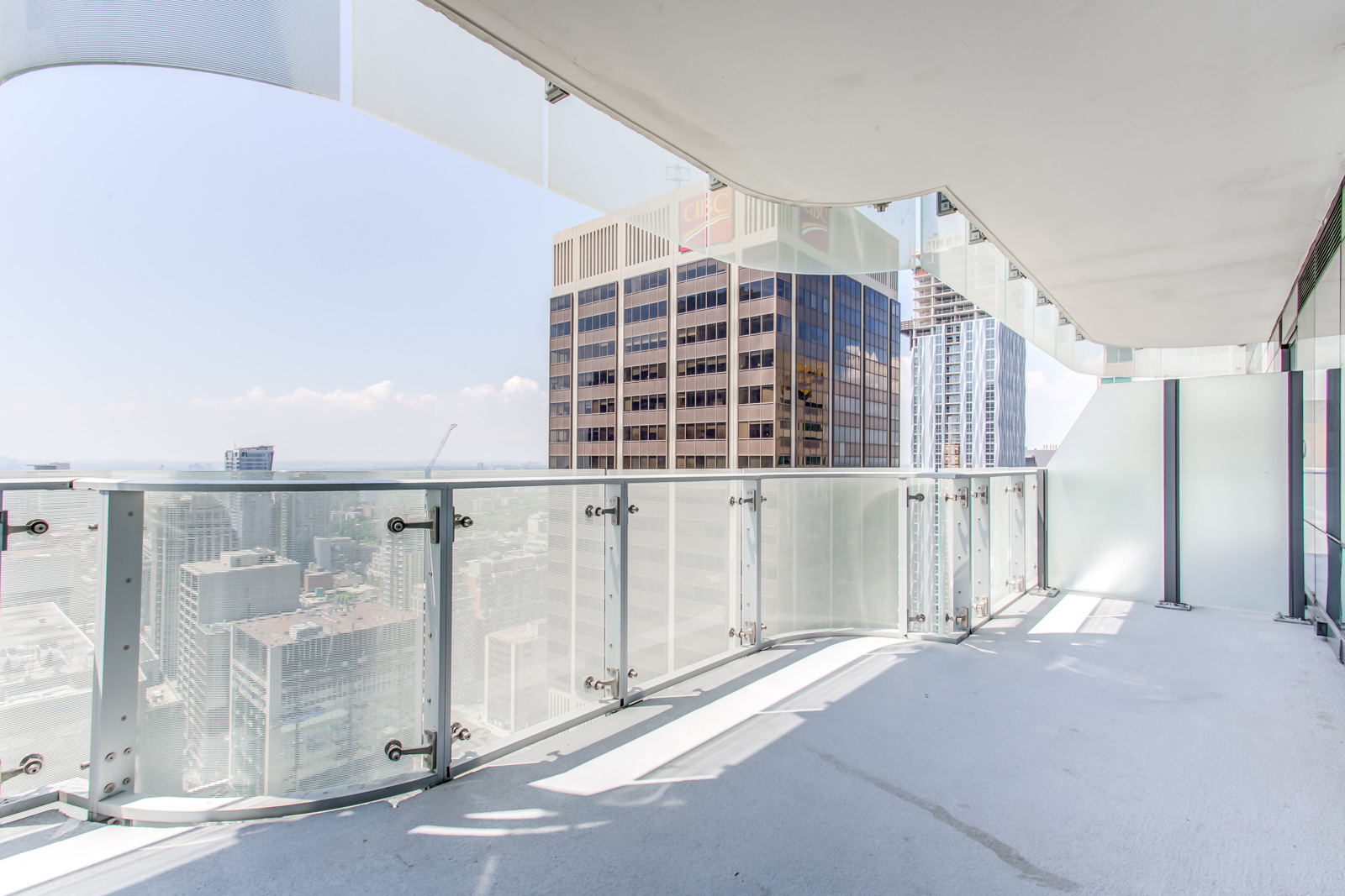 Another angle of 1 Bloor St E Unit 3408 balcony with view of Yonge and Bloor.
