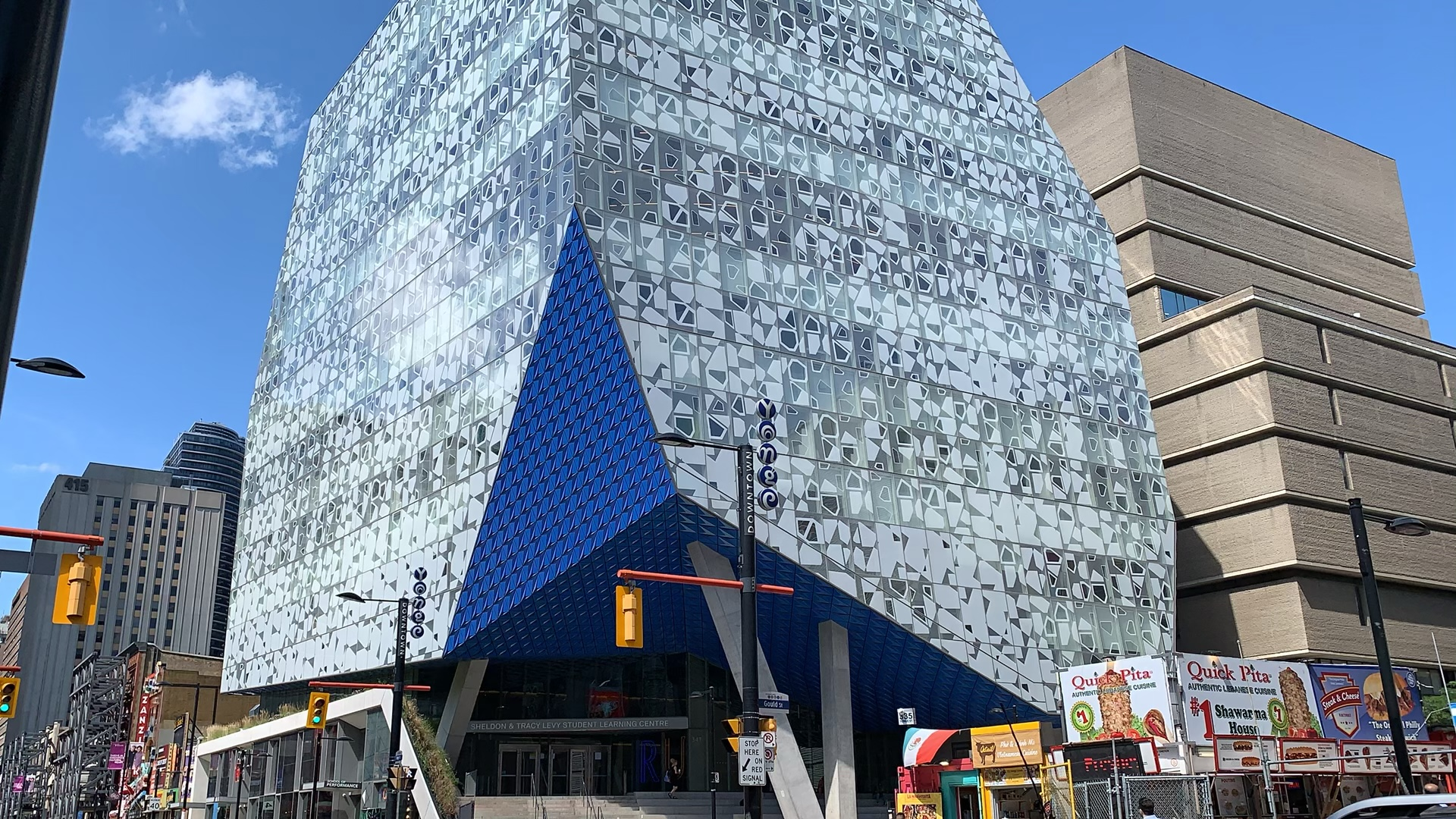 Exterior of modern and stylish Ryerson University Student Learning Centre in Toronto.