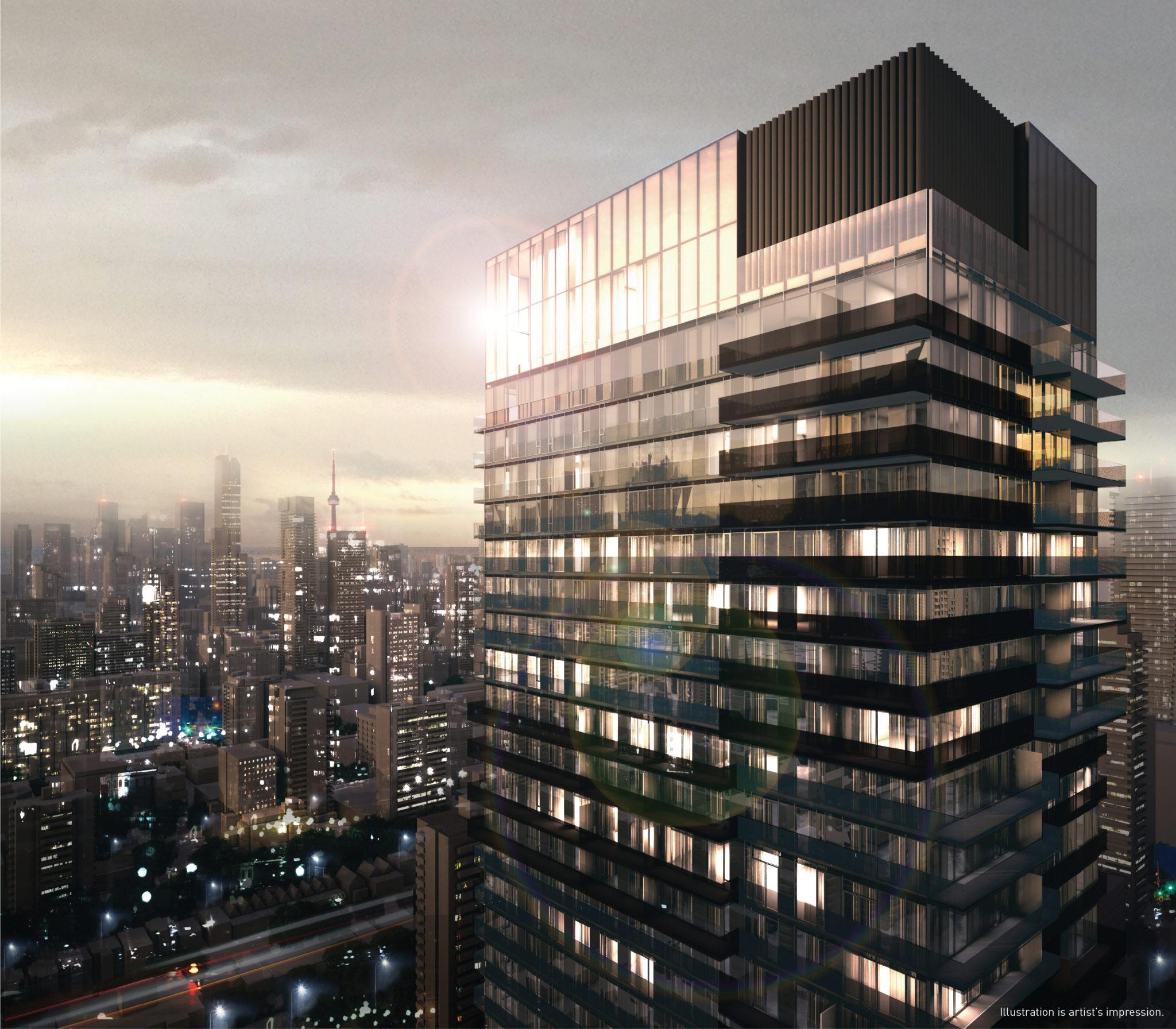 3d render of 55 Charles Street East Condo in Toronto.