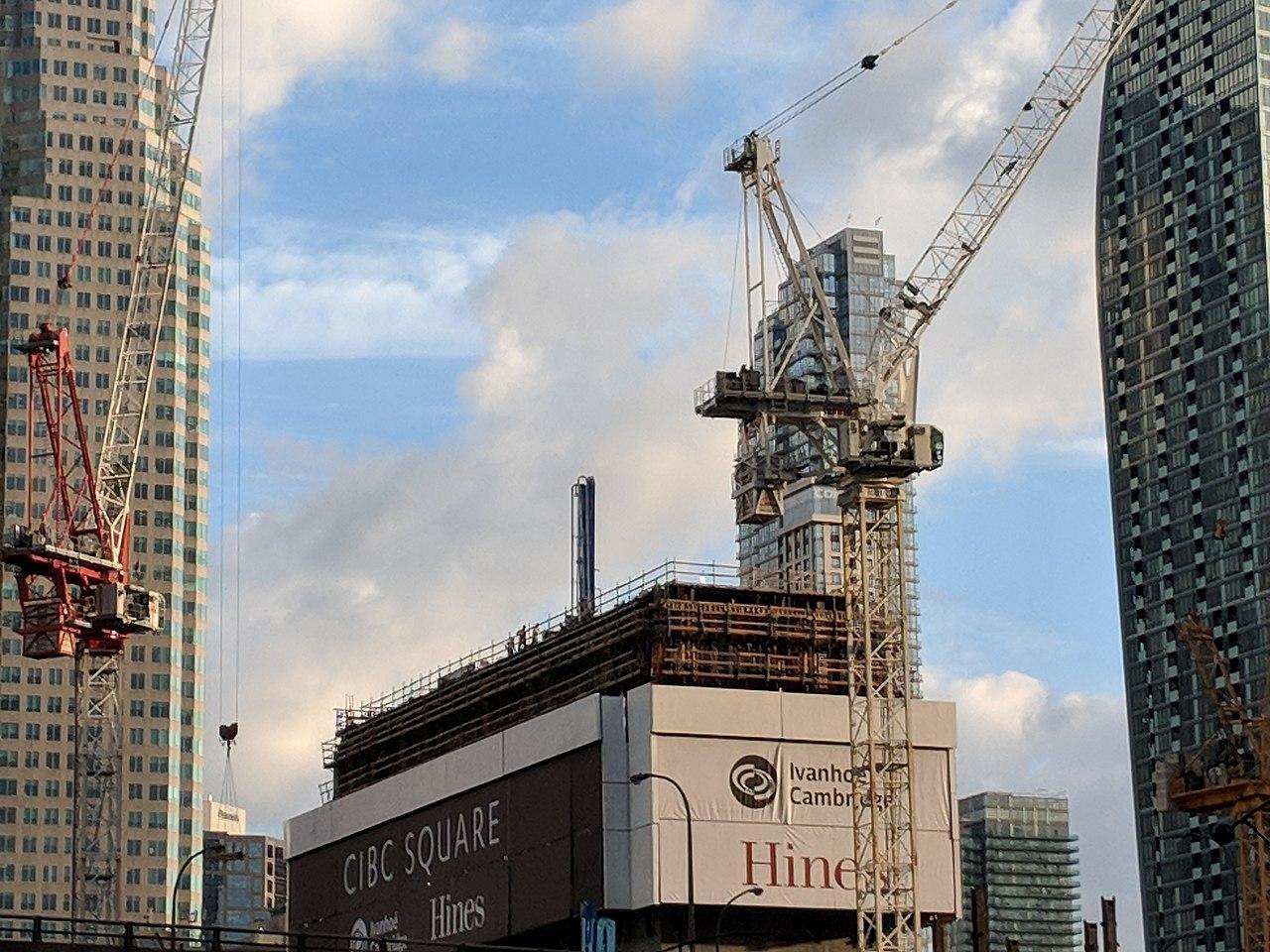CIBC Square under construction with cranes.