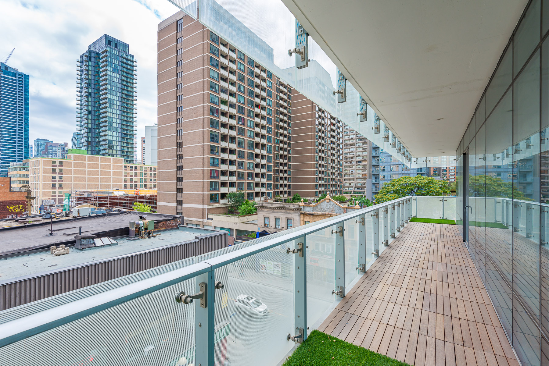 Balcony view from 1 Bloor St E Unit 310 Toronto.