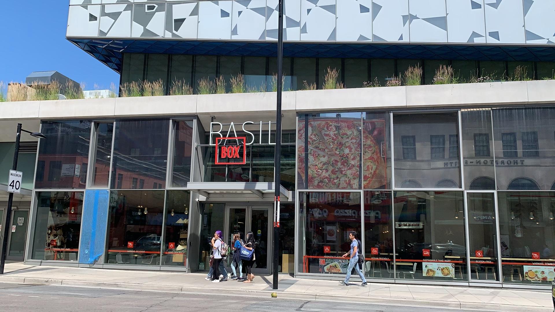 Sign for Basil Box restaurant in Ryerson University Student Learning Centre in Toronto.