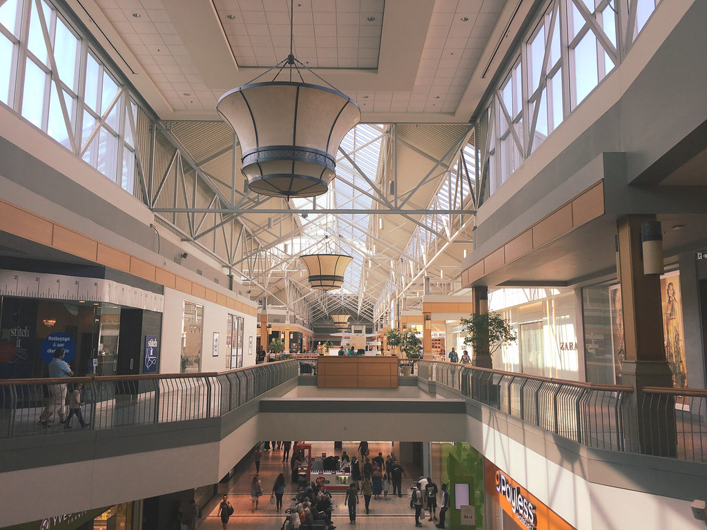 Shops and pathways at CF Fairview Mall in North York, Toronto.