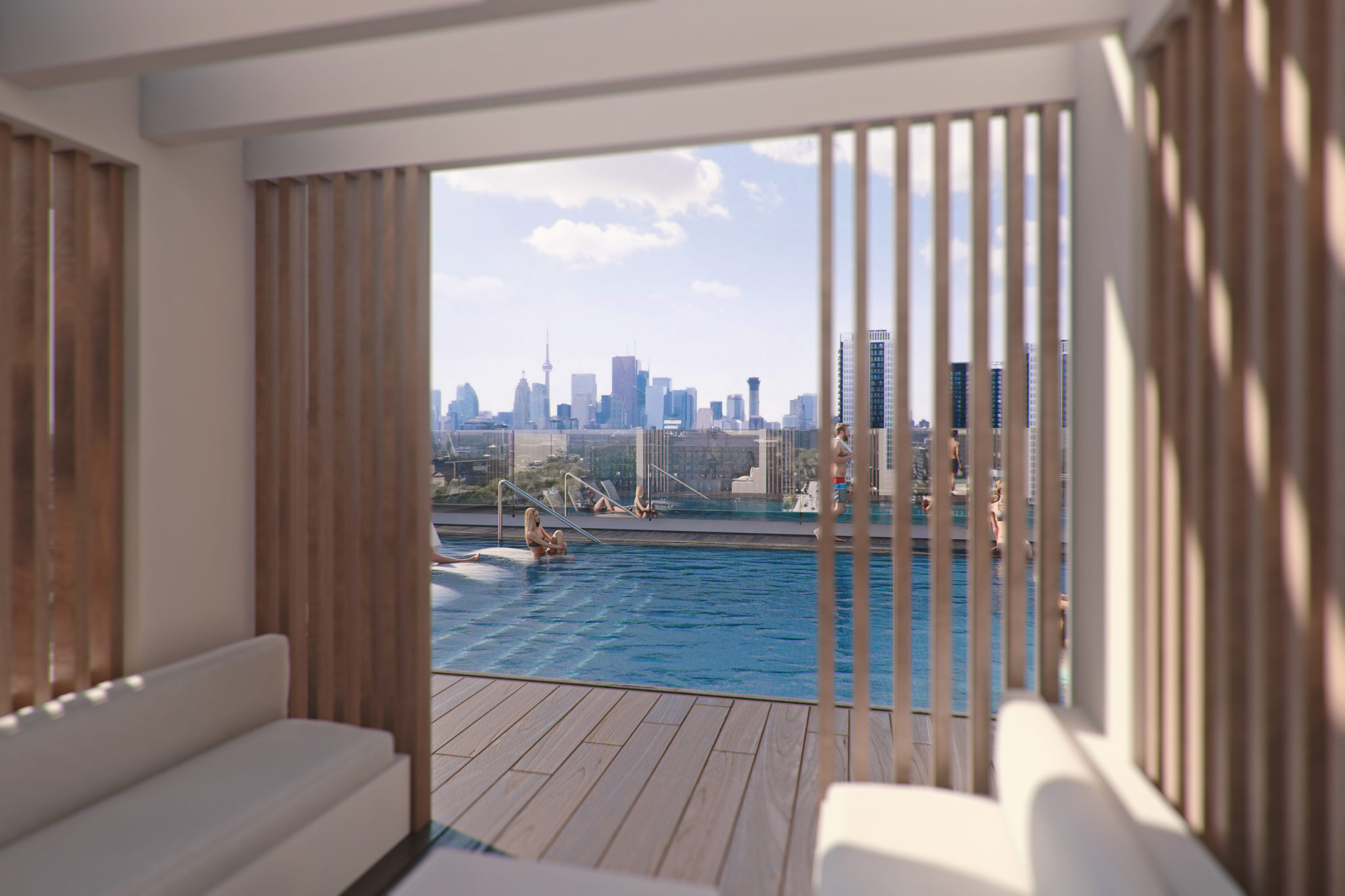 Rendering of rooftop pool amenity at River and Fifth Condos on 5 Defries St, Toronto.
