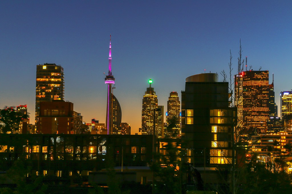 Corktown Toronto at night.