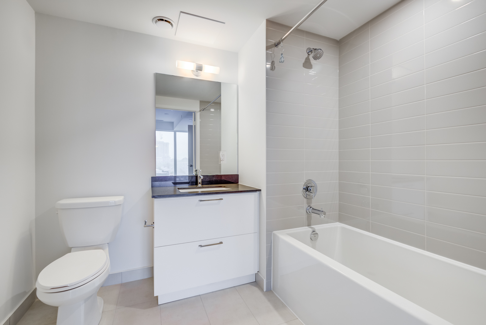 Master bath with tub, shower, vanity, and gray and white colours.