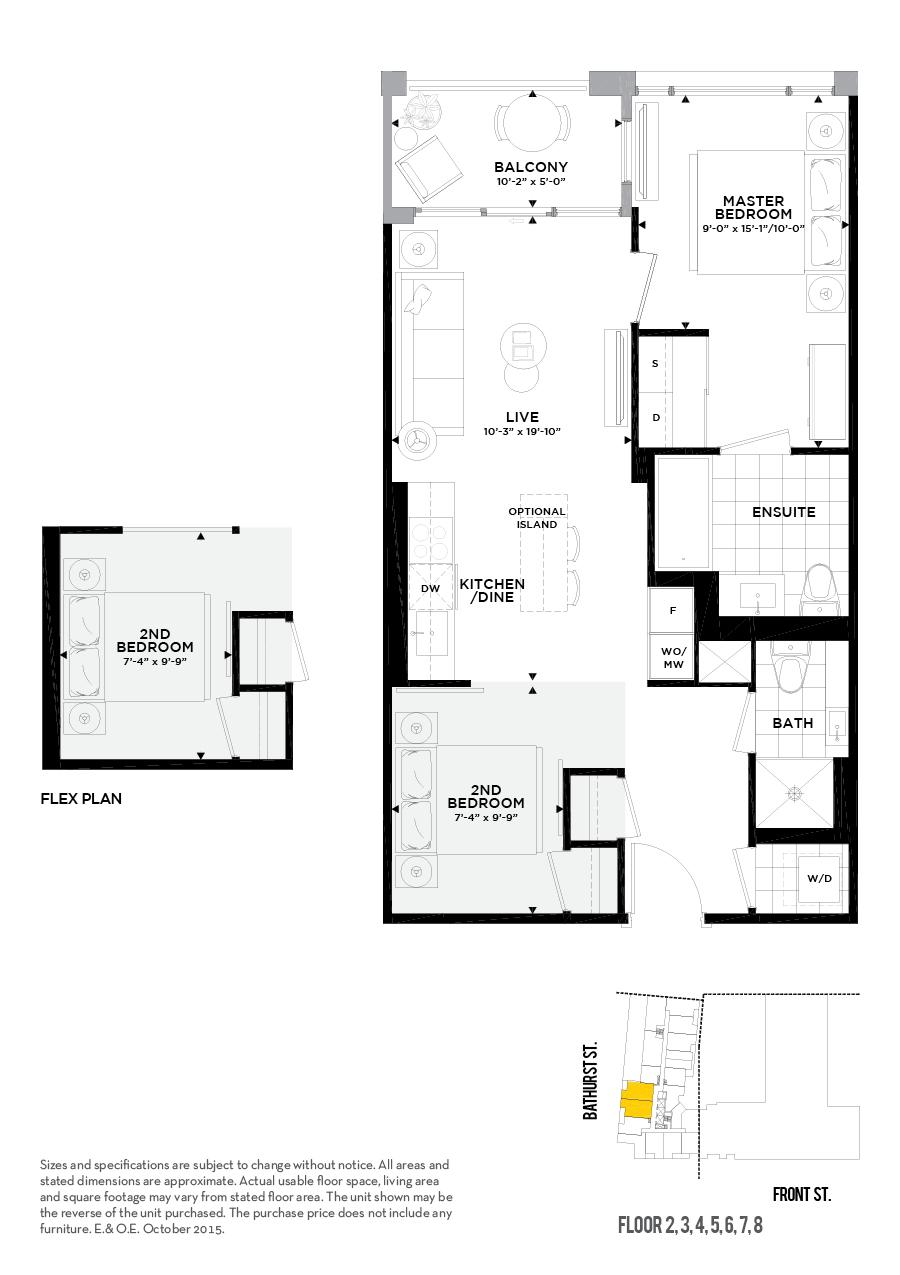 27 Bathurst St Unit 308 Minto Condos floor plans.