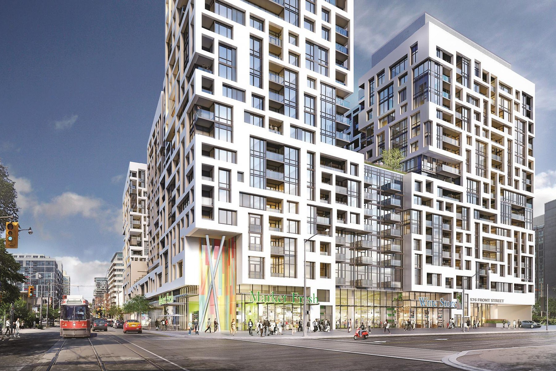 Concept art for Minto Condos showing 2 geometric buildings with thick white lines and blue windows.