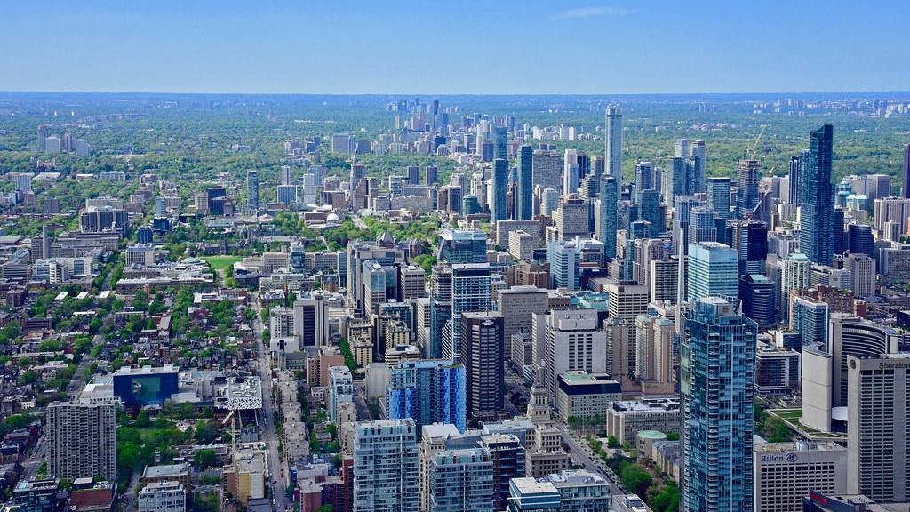 Arial view of Toronto skyline including the GTA.