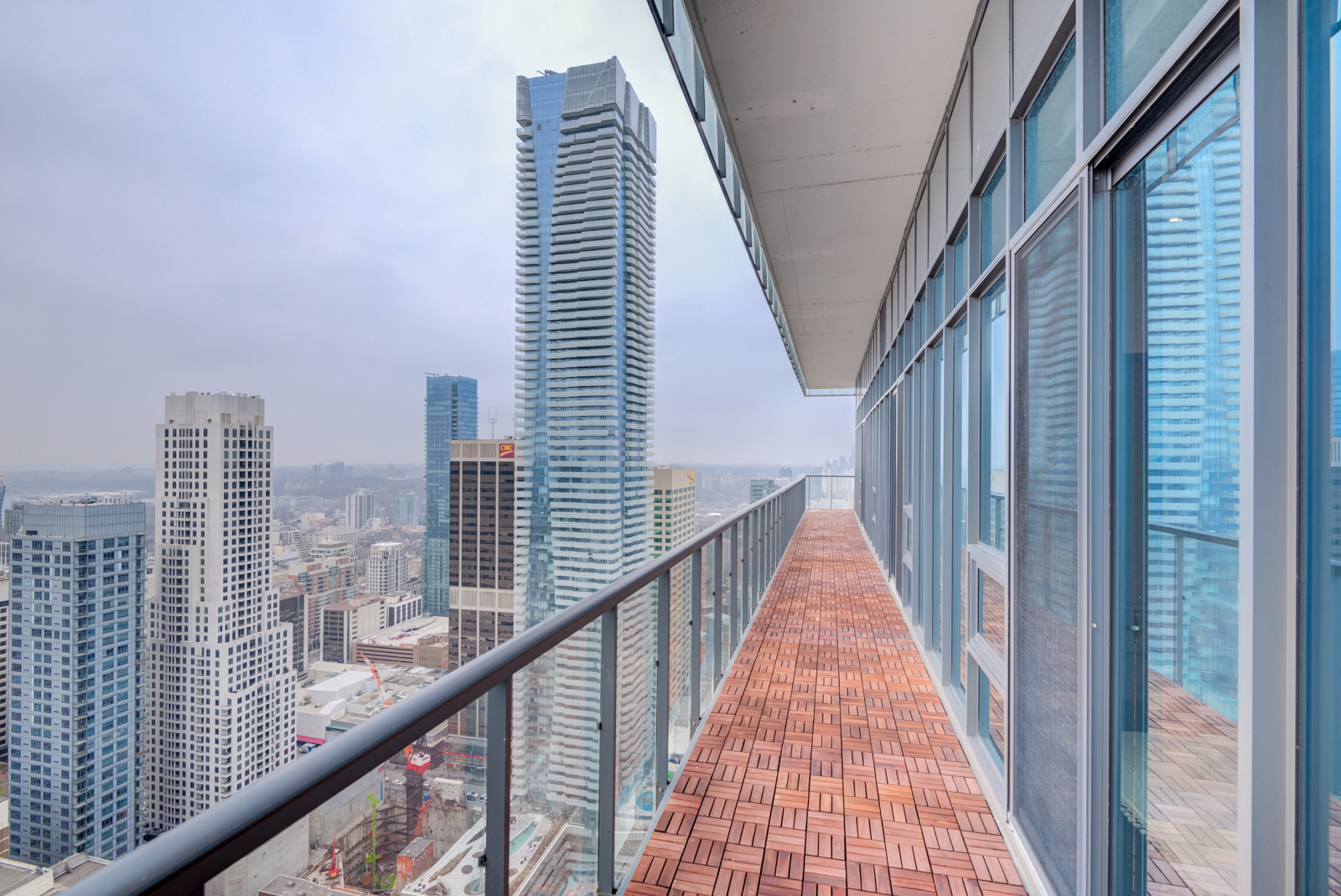 Huge balcony of 33 Charles St E Casa Condos penthouse suite.