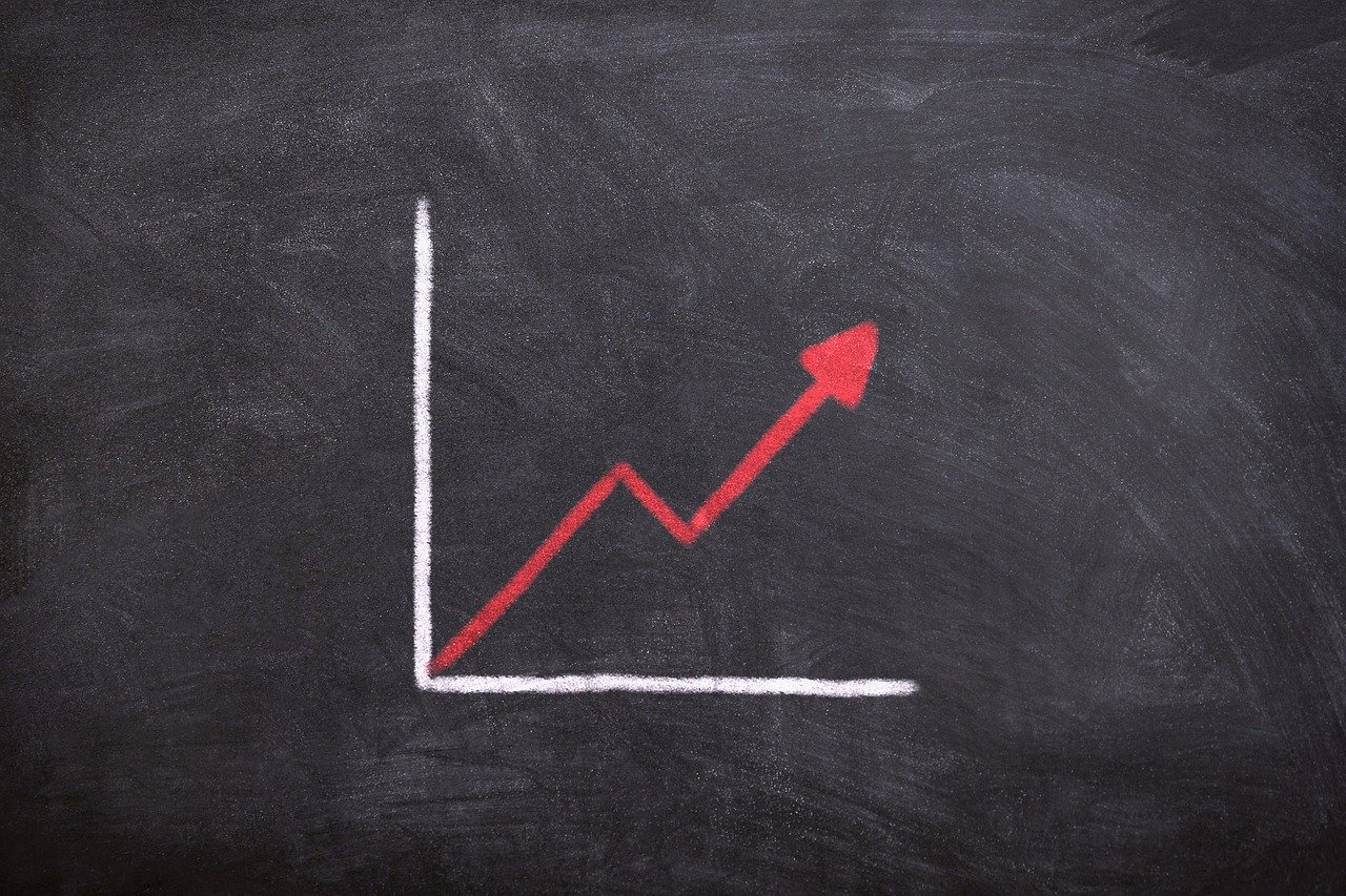 Blackboard line graph showing rising demand for 2020 Toronto housing market.