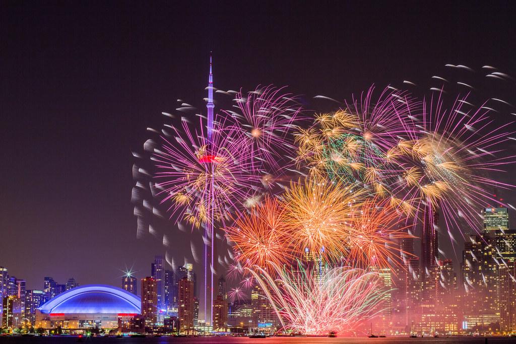 Colourful fireworks along skyline; 2020 toronto housing market