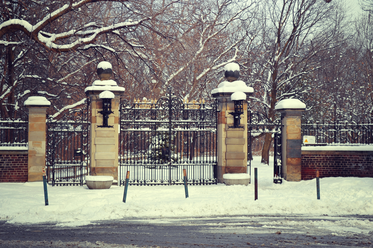 Snow and trees outside mansion gates in Rosedale, Toronto.