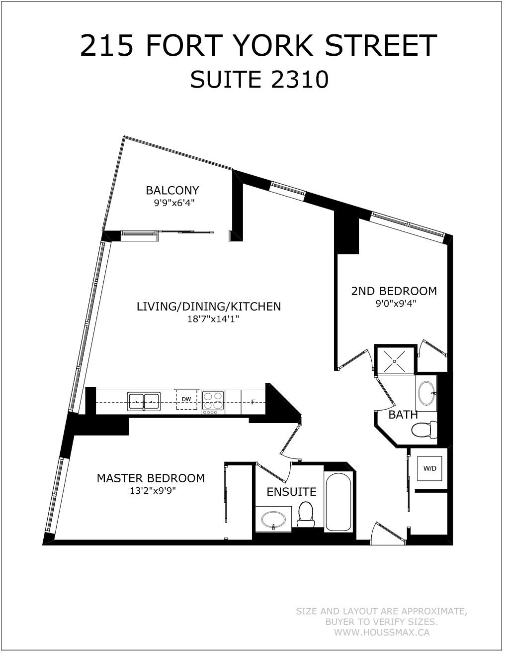 Floor plans for 215 Fort York Blvd Unit 2310.