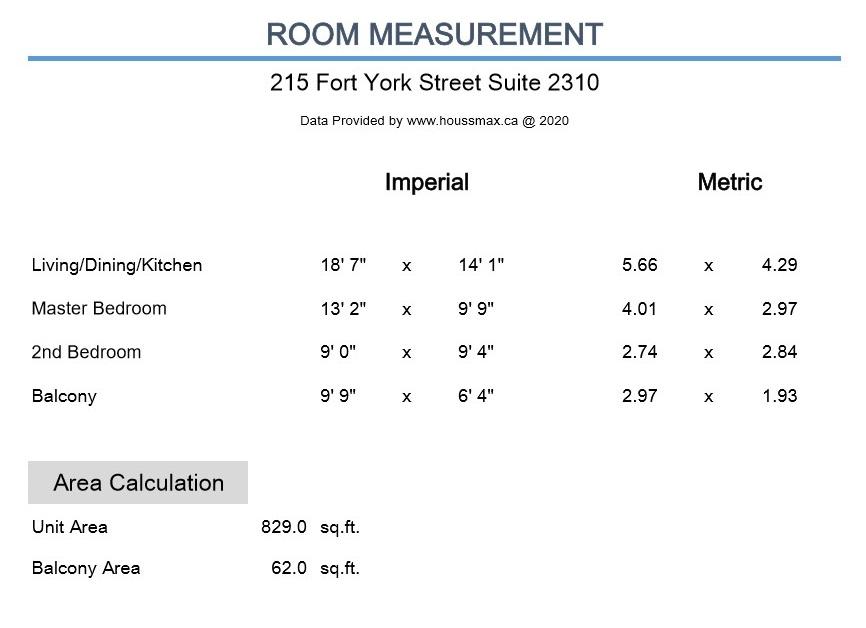 Room measurements for 215 Fort York Blvd Unit 2310.