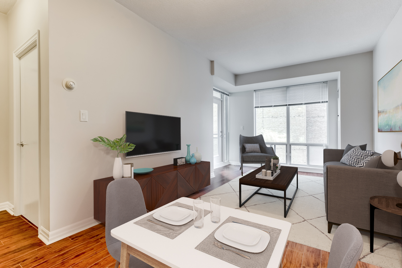 Real photo of condo dining room and living room with 3D rendered furniture, TV, carpet and painting.