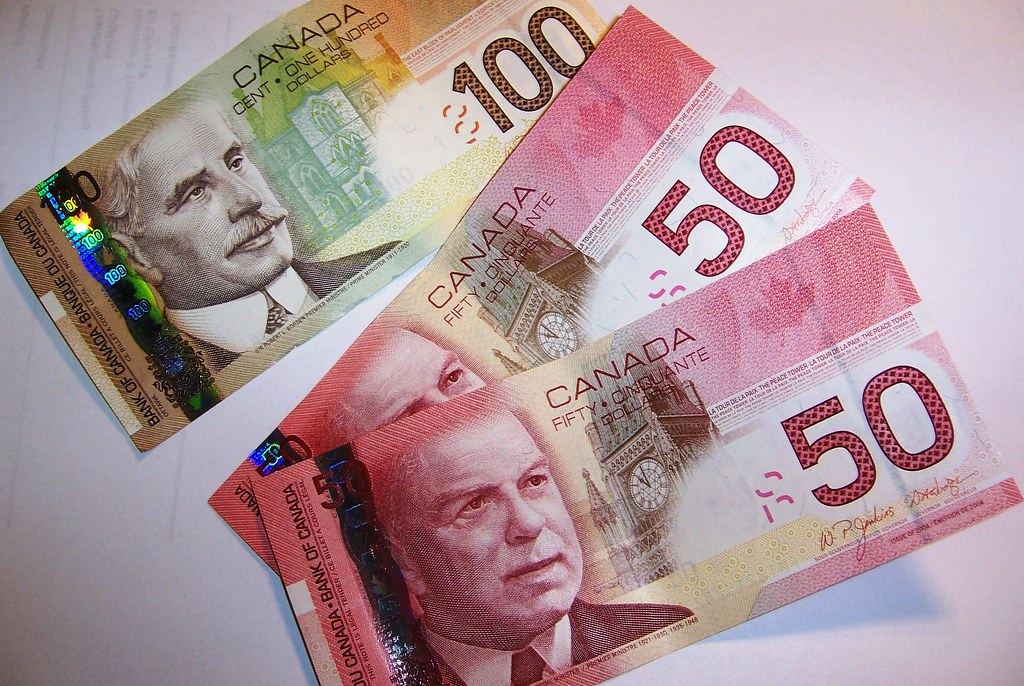 Canadian currency, including red $50 notes and $100 note, showing impact of March 2020 Interest Rate Cuts.