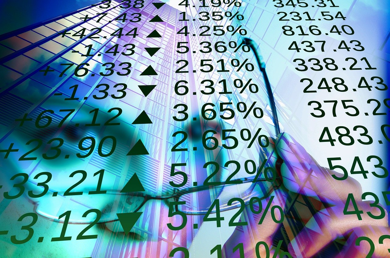 Stock market numbers in black.