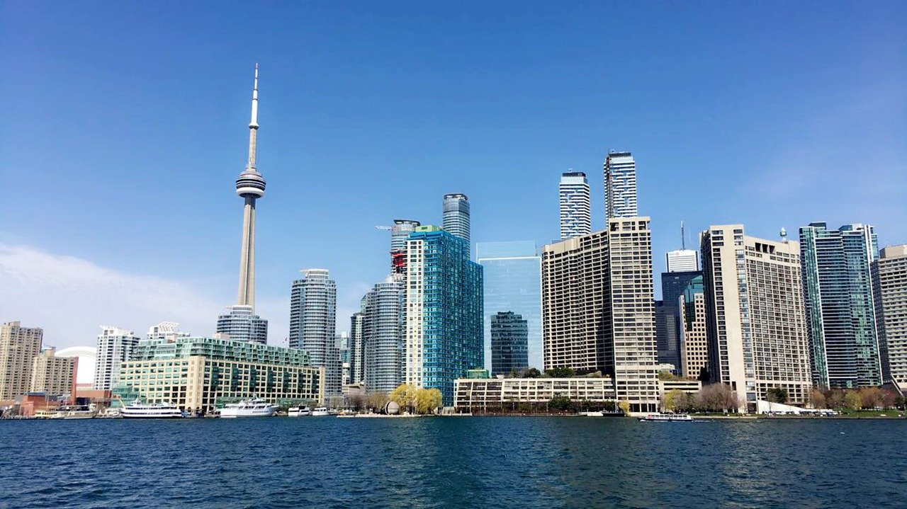 Toronto skyline from Lake Ontario for COVID-19 conclusion.
