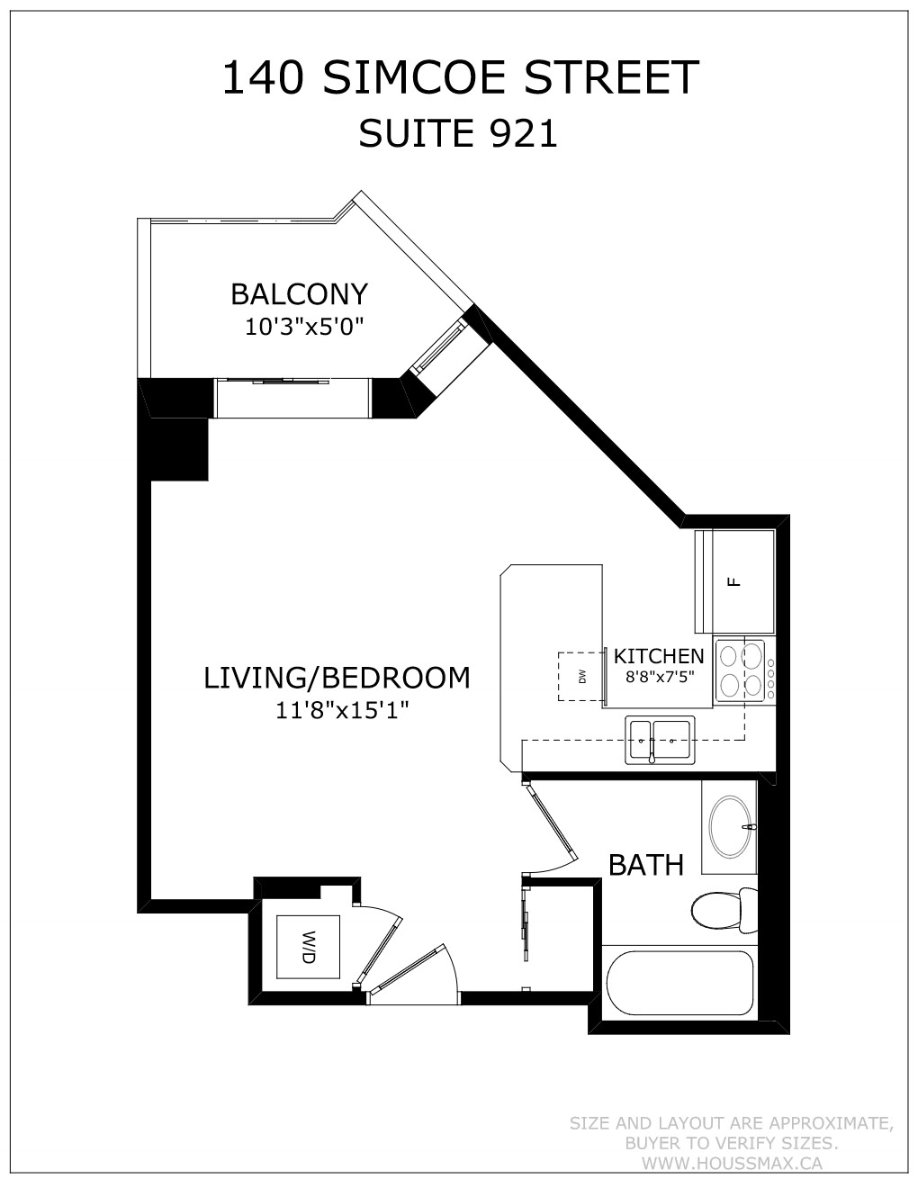 Floor plans and layout for 140 Simcoe St E Unit 921