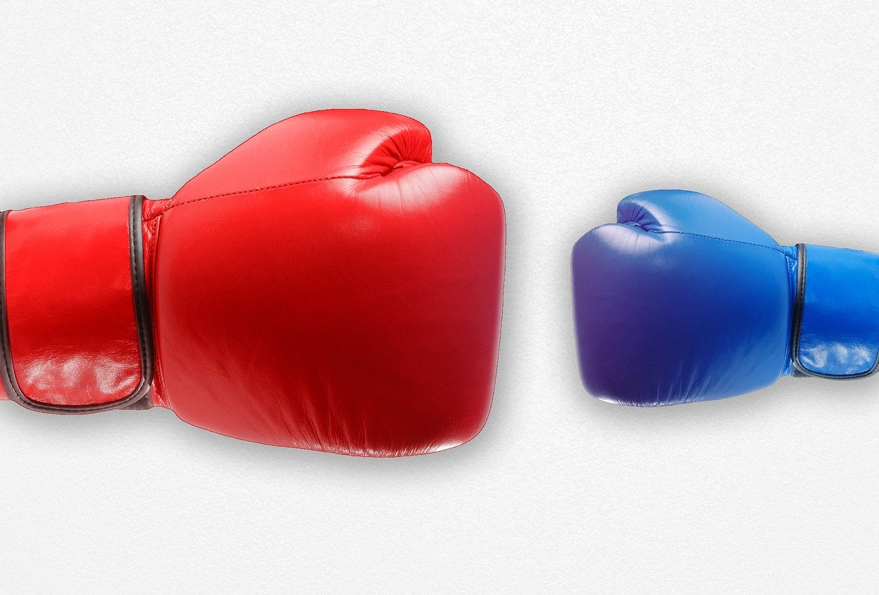 Large red boxing glove and small blue boxing glove showing Phyxter vs competition.