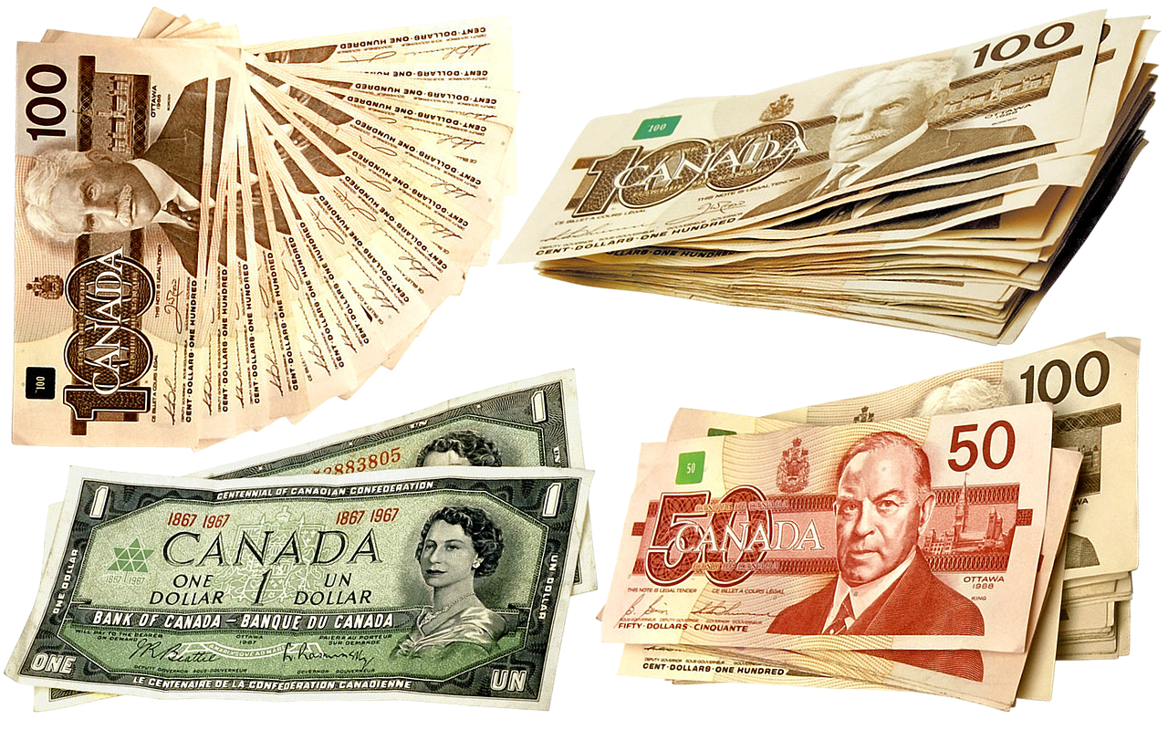Canadian currency ($50, $100, $1 bills) on white background.