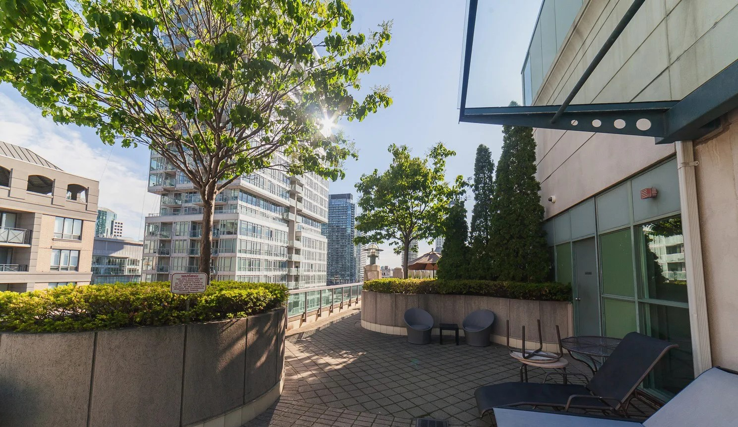 168 Simcoe St's rooftop deck with chaise lounges, shrubbery and view of downtown Toronto.