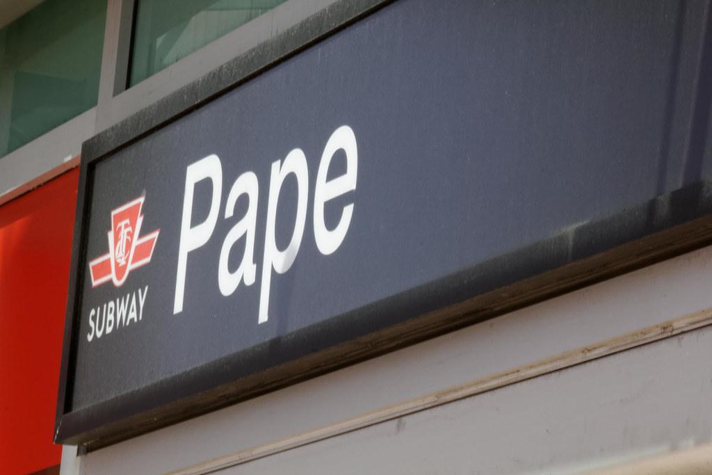 Pape subway station in Toronto.